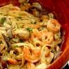 Jintanas pasta med räkor i vinsås