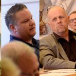 Johan Stolpen (V), Fredrik Dahlberg (SD) och Lars-Göran Zetterlund (C) var inte överens med Christina Johansson (M).