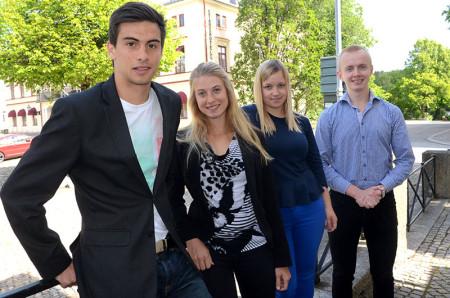 Drivna entreprenörer. Från vänster Filip Bilek, Michaela Persson, Agnes Gintvainyte och Magnus Danielsson.